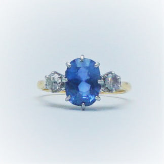 Vintage Sapphire and Diamond Three Stone Ring