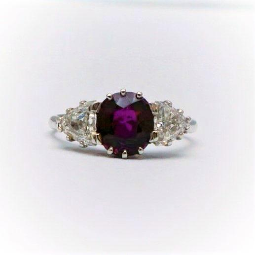 Vintage 1940's Ruby and Diamond Three Stone Ring