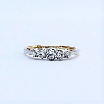 1930's Five Stone 18 Carat Yellow Gold Diamond Ring