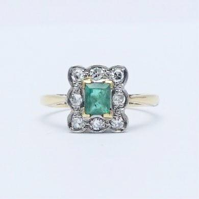 Antique emerald rings friar house emerald and diamond cluster ring aloadofball Gallery