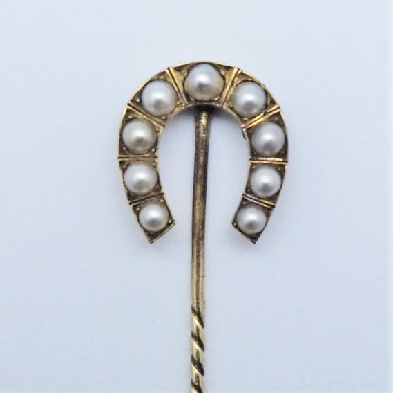 Edwardian Cultured Pearl Horseshoe Stick Pin