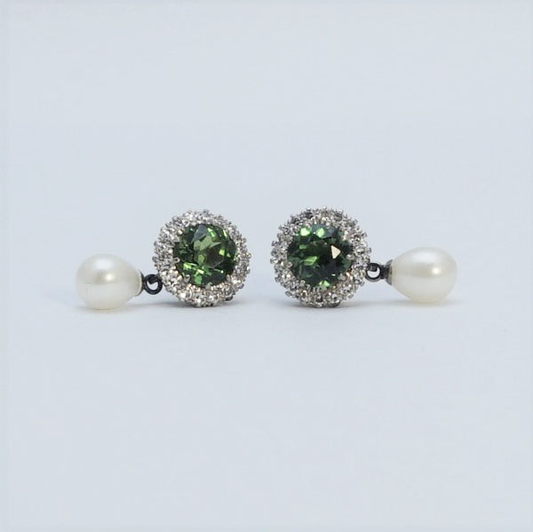 Vintage Green Tourmaline, Diamond and Pearl Cluster Earrings
