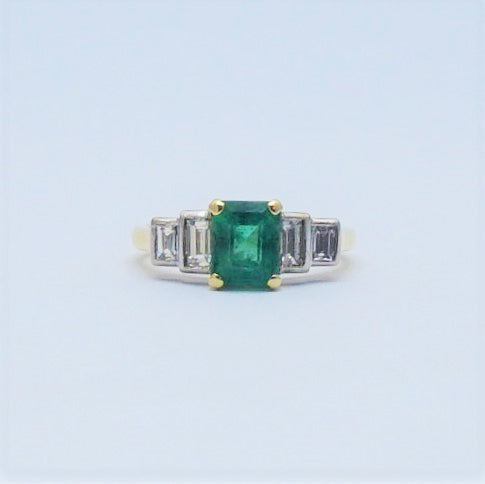Emerald and Diamond 18 Carat Gold Ring