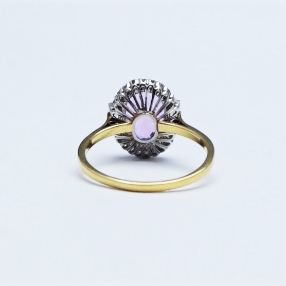 Vintage Pink Topaz and Diamond Cluster Ring.