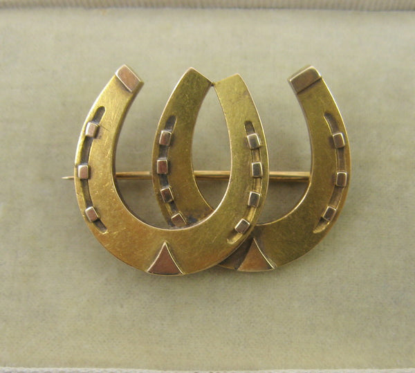 Victorian Yellow Gold Double Horse Shoe Brooch