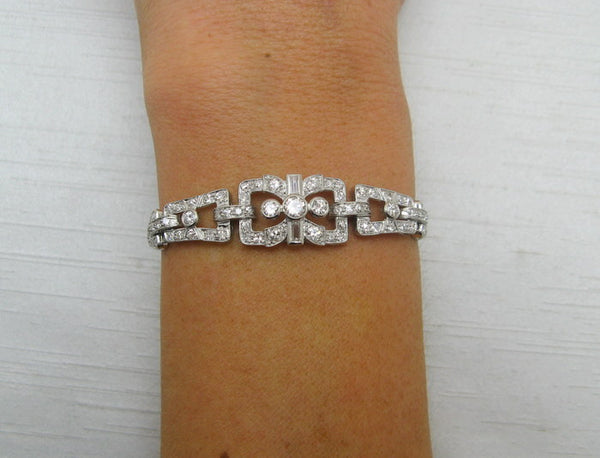 Art Deco Platinum Diamond Panel Bracelet