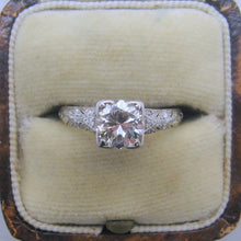 1930's Art Deco Platinum Diamond Solitaire Ring 1 Carat