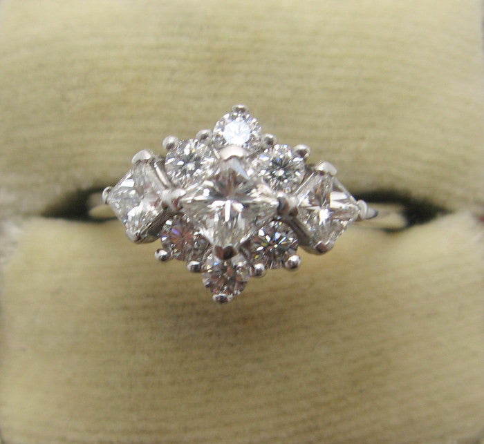 Diamond Cluster Contemporary White Gold Ring