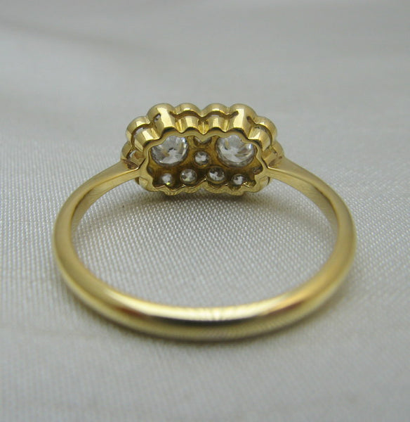 Art Deco Double Daisy Diamond Cluster Ring.