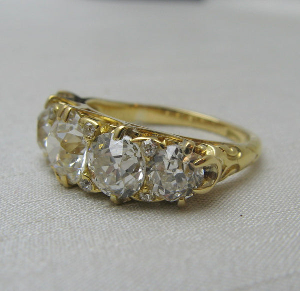 4 Carat Five Stone Diamond Ring 1920's