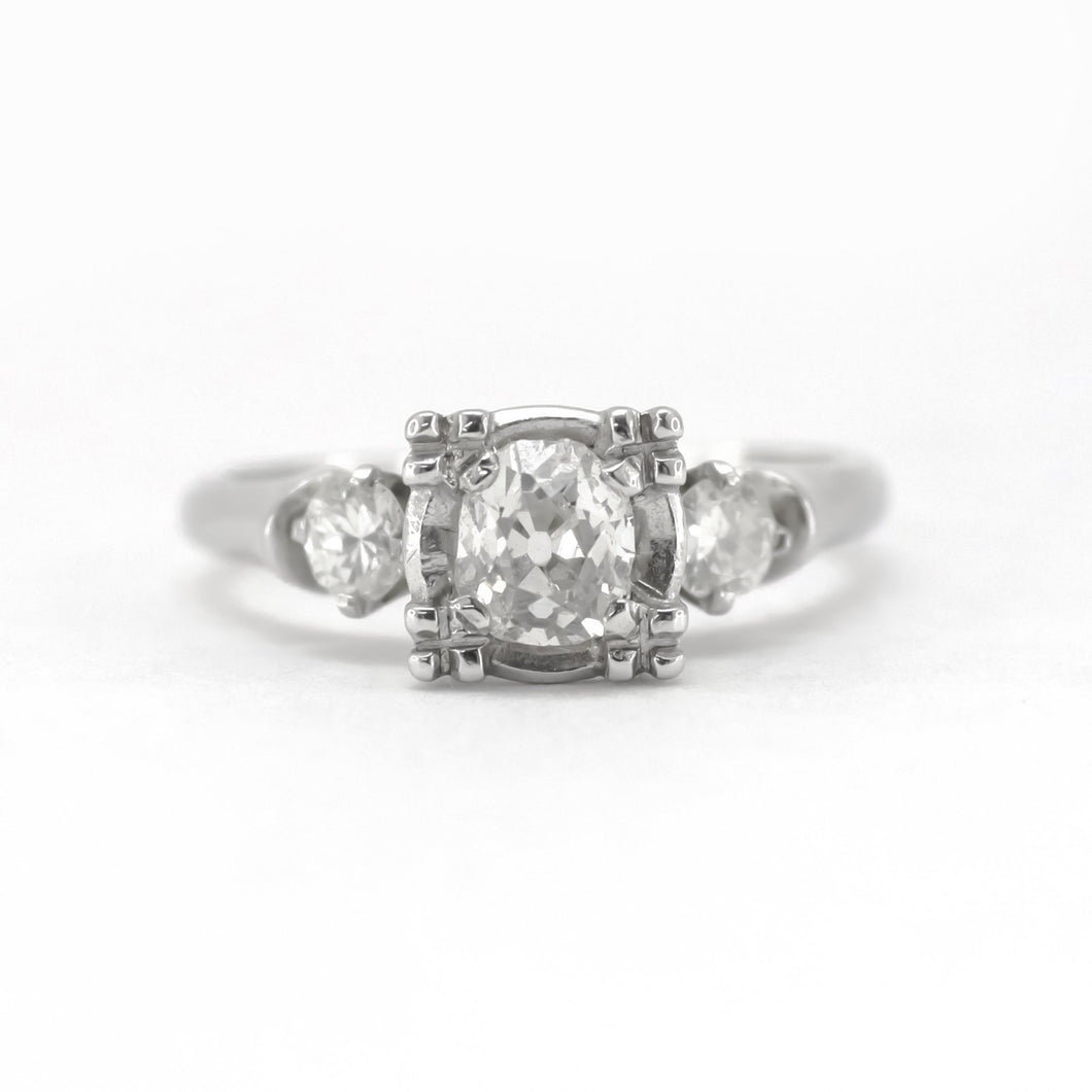Art Deco .55 carats White Gold Diamond Engagement Ring - Friar House