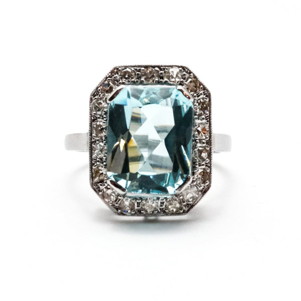 Art Deco Aquamarine & Diamond Cluster Ring - Friar House