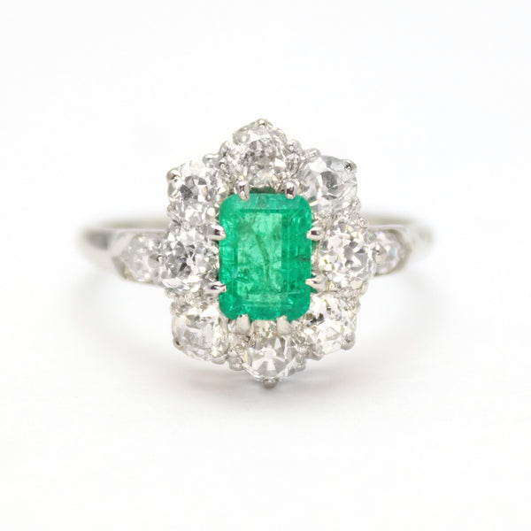 Art Deco Emerald and Diamond Cluster Ring - Friar House