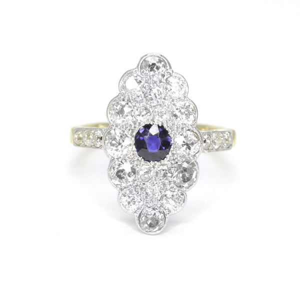 Art Deco Navette Shape Sapphire and Diamond Panel Ring - Friar House