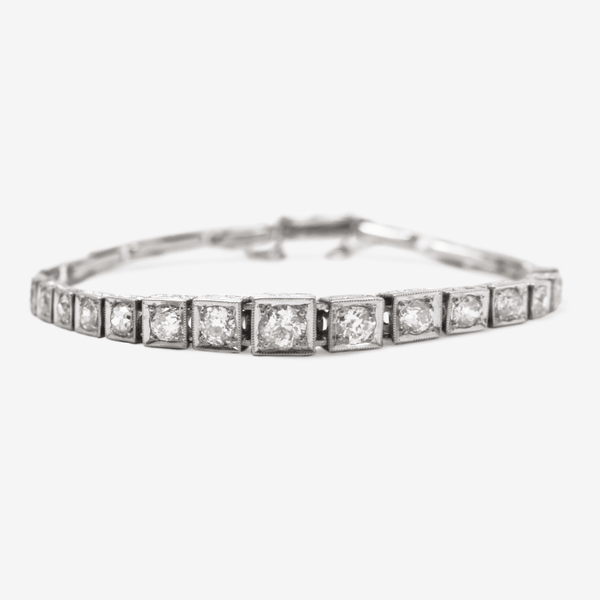 Art Deco Platinum Diamond Line Bracelet - Friar House