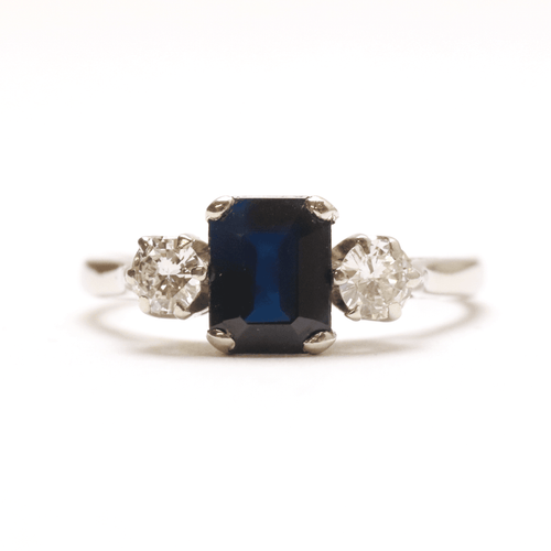 Art Deco White Gold Sapphire and Diamond Three Stone Ring - Friar House