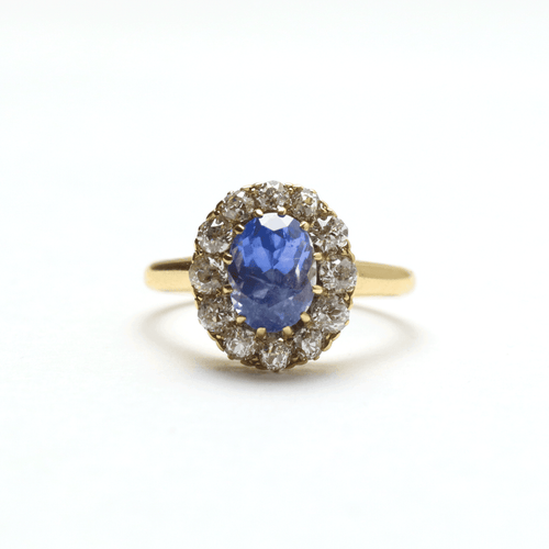 Cornflower Blue Sapphire and Diamond Cluster Ring - Friar House