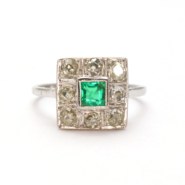 Emerald and Diamond Square Cluster Ring - Friar House