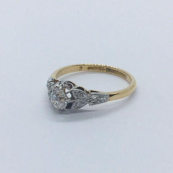 18 Carat Yellow Gold Diamond Solitaire Ring With Foliate Shoulders