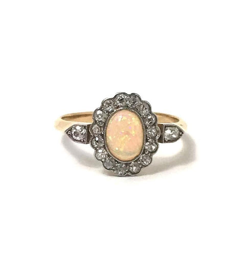 1930's Opal And Diamond Cluster Ring
