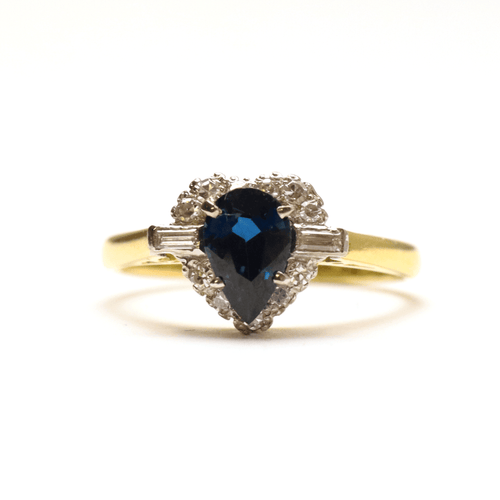 Pear Cut Sapphire and Diamond Cluster Ring - Friar House