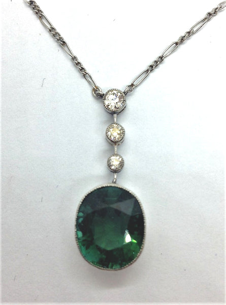 Green Tourmaline and Diamond Drop Pendant