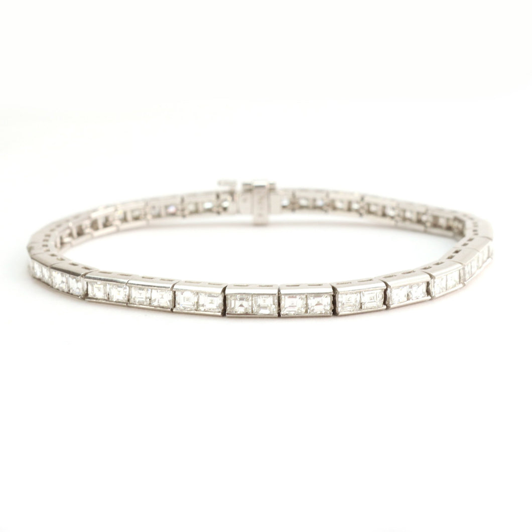 Platinum Square cut Diamond Line Bracelet - Friar House