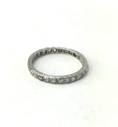 Vintage Platinum .60 Carats Diamond Eternity Ring.