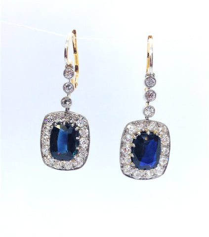 Sapphire and Diamond Drop Cluster Earrings