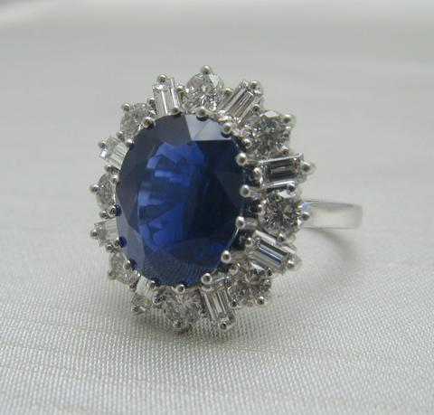 Velvet Blue Sapphire and Diamond Cluster Ring