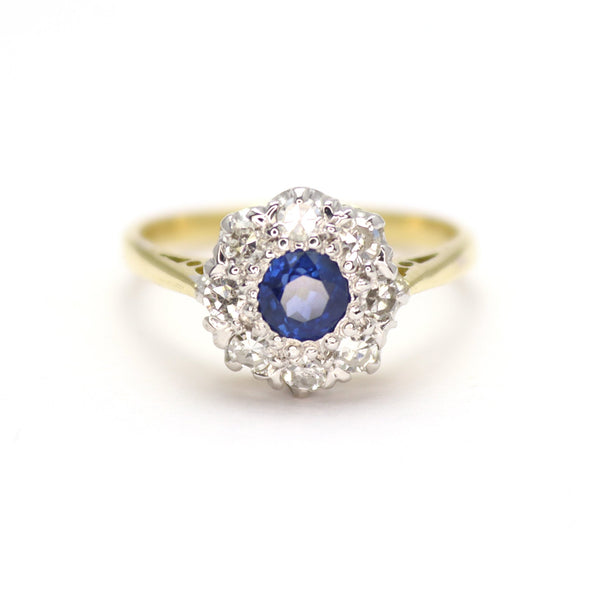 Sapphire and Diamond Cluster Ring - Friar House