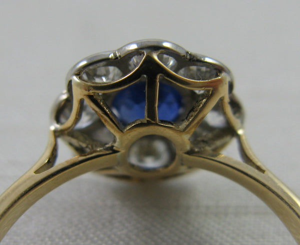 Vintage Sapphire and Diamond Cluster Ring.
