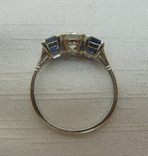 1940's Sapphire and Diamond Three Stone Ring.