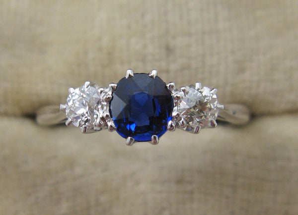 Sapphire & Diamond Three Stone Ring