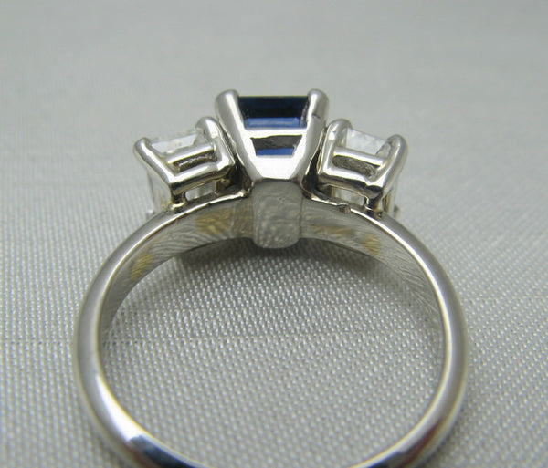 Contemporary Sapphire and Diamond Three Stone Ring