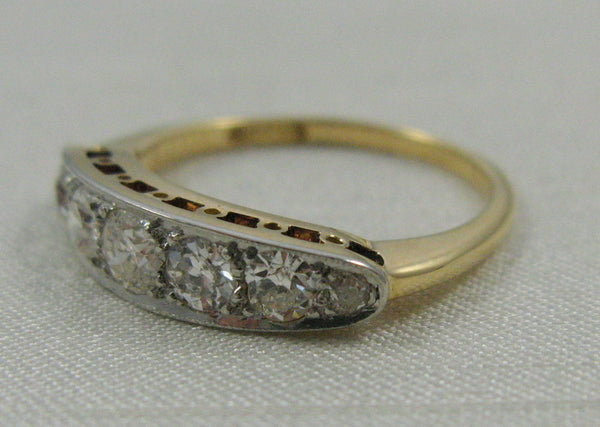 Seven Stone Diamond Yellow Gold And Platinum Ring