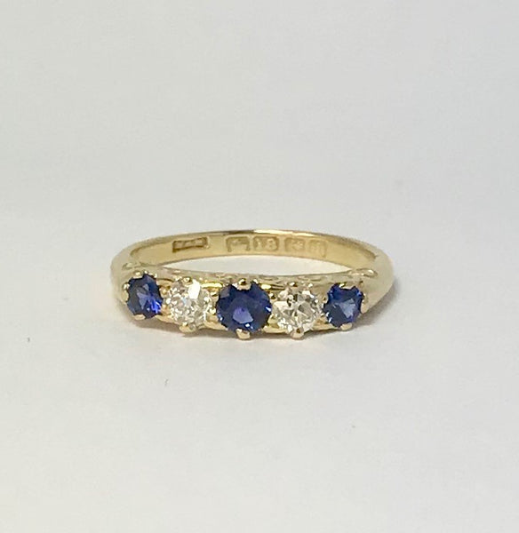 Edwardian Sapphire and Diamond Five Stone Ring