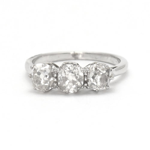 Platinum Art Deco 1930's Three Stone Diamond Ring