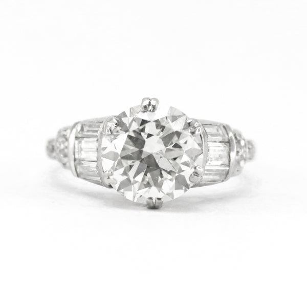 Art Deco 2.80 carat Platinum Diamond Solitaire Ring