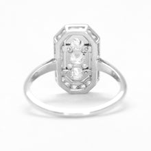 Art Deco Platinum Retangular Diamond Panel Ring