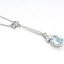 Pretty Art Deco Aquamarine & Diamond Drop Pendant