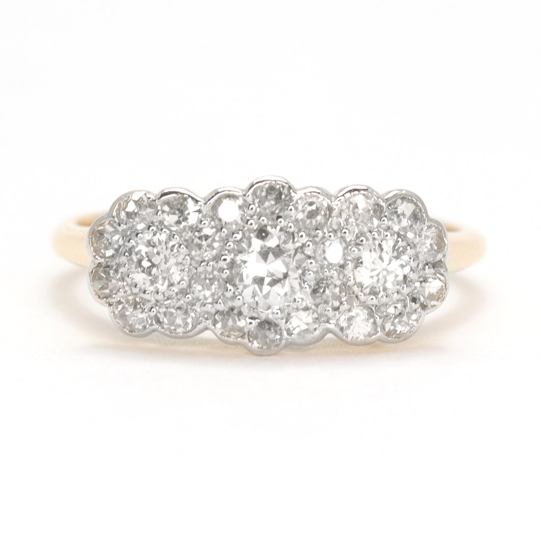 Antique Triple cluster Diamond Ring
