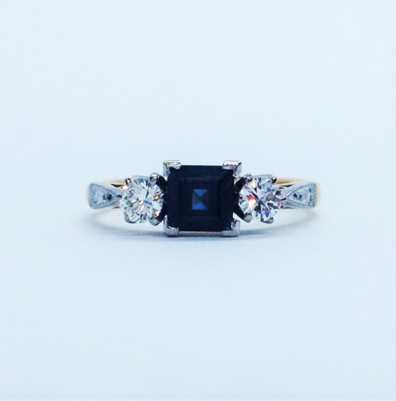 Sapphire and Diamond Art Deco Ring