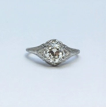 Art Deco Diamond Solitaire Engagement Decorative Band Ring.