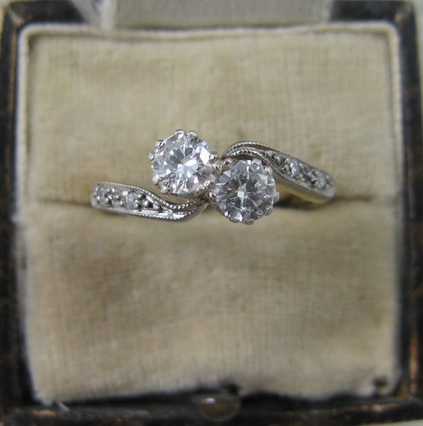 Two Stone Diamond Cross Over Ring