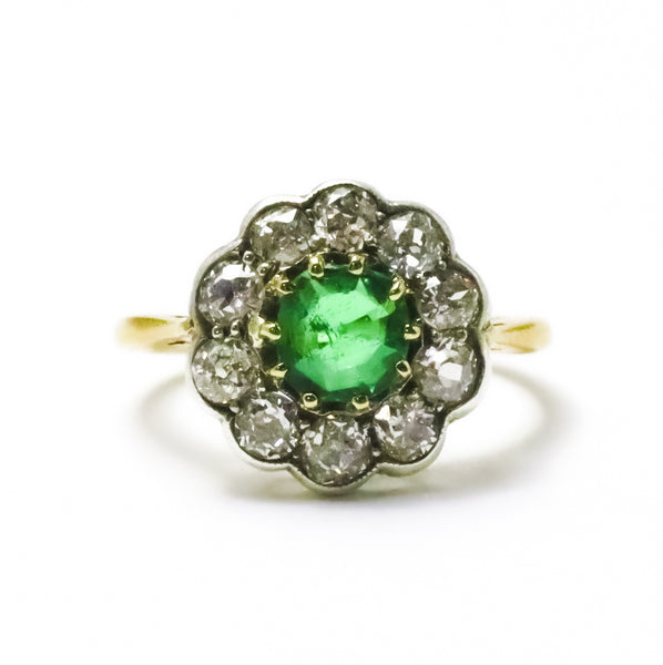 Antique Emerald & Diamond Cluster Ring