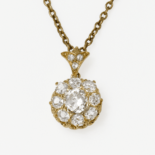 Victorian 18ct Fancy Yellow gold Diamond Cluster Pendant - Friar House