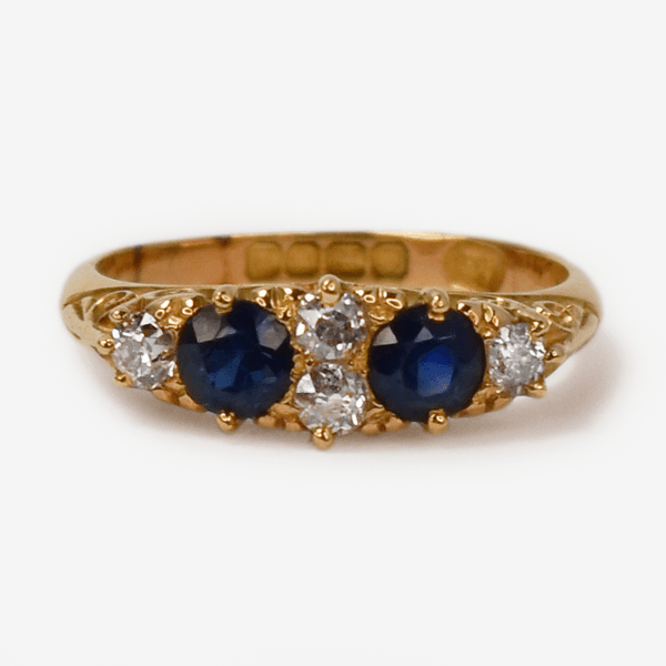 Victorian 18ct Yellow Gold Sapphire and Diamond Ring - Friar House
