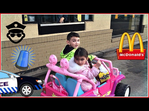 8-yr old drives his 4-yr old sister to McDonald's for a Cheese Burger!!