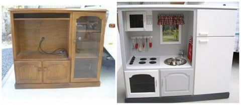 Diy do it yourself projects thebabylabel transform an old entertainment center into a kids dream play kitchen solutioingenieria Gallery